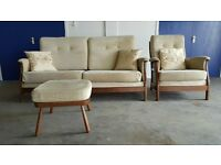FABRIC ERCOL SOFA CHAIR FOOTSTOOL SET / SUITE / SETTEE CONSERVATORY LIVING ROOM DELIVERY AVAILABLE