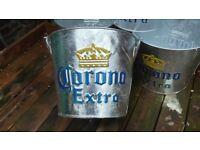 Beer Bottle Ice buckets Corona metal galvanized embossed logos with bottle openers Downend