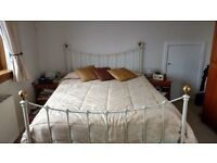 King Size Metal Bed in White - £90