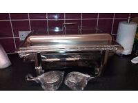 2 PANS CHAFING DISH SET STAINLESS STEEL 8.5L FOOD WARMER
