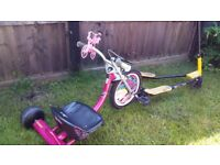 Barbie Tricycle and Foldable Speeder Push Swing Scooter Tri Slider