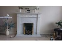 White Fireplace Surround with marble back