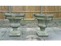 2 Cast Stone Garden Urns