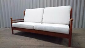 Guy Rogers 1960s Original Mid Century Vintage 3-Seater Sofa - Reupholstered in Natural Fabric