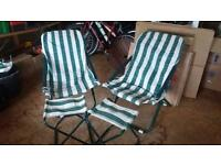 Adjustable deckchairs with stools x2