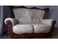 3 Piece Italian Leather Sofas with Decorated Hard Wood
