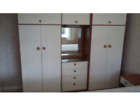 Schreiber wardrobe unit, 2 bedside units and a chest of 5 drawers