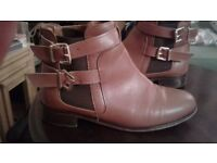 Ladies brown leather ankle boots size 7