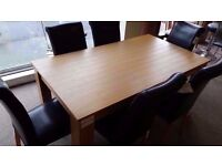 EXCELLENT CONDITION NEW! oak veneer dining table and 6 chairs