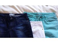 Women's clothes 21 pairs of trousers including , jeggings, jeans and shorts size 10