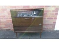VINTAGE 60s QUALITY GERMAN GRUNDIG COMO STEREO RADIO RECORD PLAYER CONSOLE RADIOGRAM FAB DECOR GWO