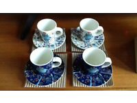 "Iittalla 4 piece ""Taika"" Espresso cup and saucer set"
