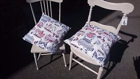 2 chairs in farrow and ball colour, with handmade cushions