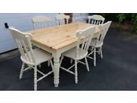 6FT BEAUTIFUL ANTIQUE PINE FARMHOUSE TABLE DINING KITCHEN TABLE & 6 CHAIRS
