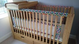 Solid oak cot bed with storage drawers and over cot changer