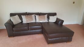 Brown leather corner sofa with matching footstool (Next)