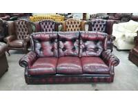 Stunning oxblood leather chesterfield 3 seater sofa UK delivery CHESTERFIELD LOUNGE