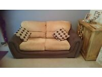 2 x Brown and tan 2 seater sofas