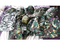 Army camouflage clothing and hats