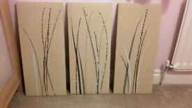 3 Canvases in Beige, Brown and Duck Egg Blue