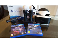Sony Playstation VR Virtual reality bundle. As new used twice. Headset, camera plus more.