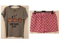 Ladies Short Monkey Pajama Set Top And Shorts Nightwear, UK 12-14