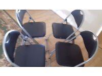 4 Silver & Black Folding occasional seats