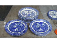 "10 x 12"" wide Plates - Blue & White Willow & Others"