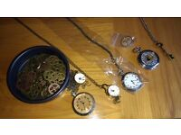 Necklace, cogs, pin badge and pocketwatches [steampunk Alice in Wonderland]