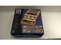 Wooden Game Chest - 10 Games inc. Backgammon, Chess, Snakes & Ladders & Checkers