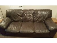 Brown leather sofa + 2 armchairs/3 piece suite