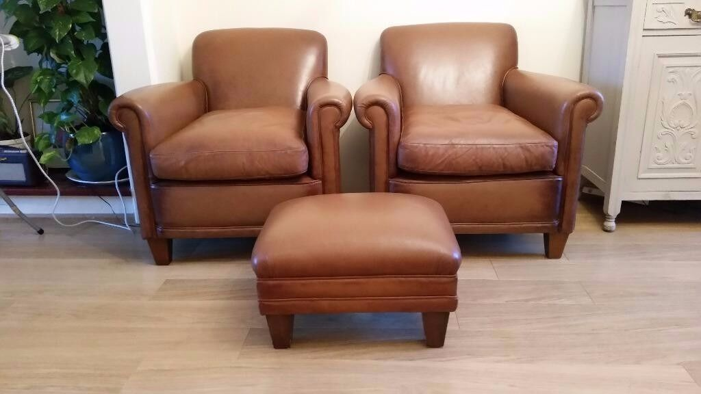 Laura Ashley Tan Brown Leather Burlington Armchair Matching Pair Sofa Footstool Available