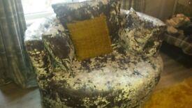 Double crush velvet cuddle chair