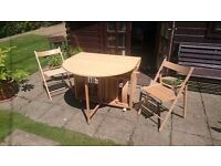 Selling Butterfly Oval Dining Table with 2 Chairs ~ Beech colour Excellent condition.
