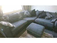 DFS Black and Silver Corner Sofa