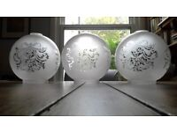 Ceiling Light Shades x3 - Victorian Style, Etched Pattern