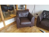 Large Leather sofa and chair for sale