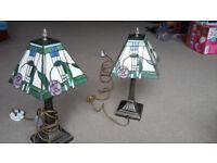 "2 ""Mackintosh Rose"" design Tiffany lamps"