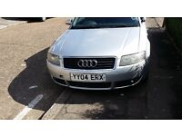 Audi A4 2.4 Auto, quick sale £1300 Cabriolet, silver, top roof not working. tel.07492075528.