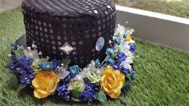 Handmade Rose black Top Hat. Standard fit. Unisex fancy dress Good quality