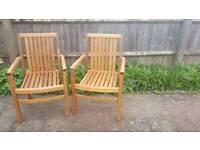 Teak Garden Chairs x2