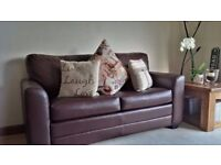 Brown Faux Leather 2 Seater Sofa Bed in Excellent condition