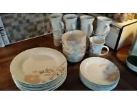 Cream dinner set - plates, side plates, bowls and mugs