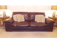 Three seater and two seater brown leather sofa's