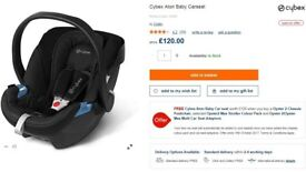 Baby newborn boy girl car seat black Cybex Aton up to 13kg 0-15 months NEW!!