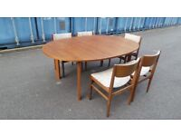 Retro Vintage Danish France & Son Extend table and chairs can deliver