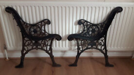 antique vintage old Victorian cast iron bench ends