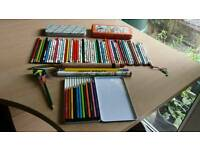 Collection of various pencils including a coloured set & 2 pencil tins