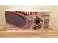 GEORGE FOREMAN 2 SLICE TOASTER. NEVER USED