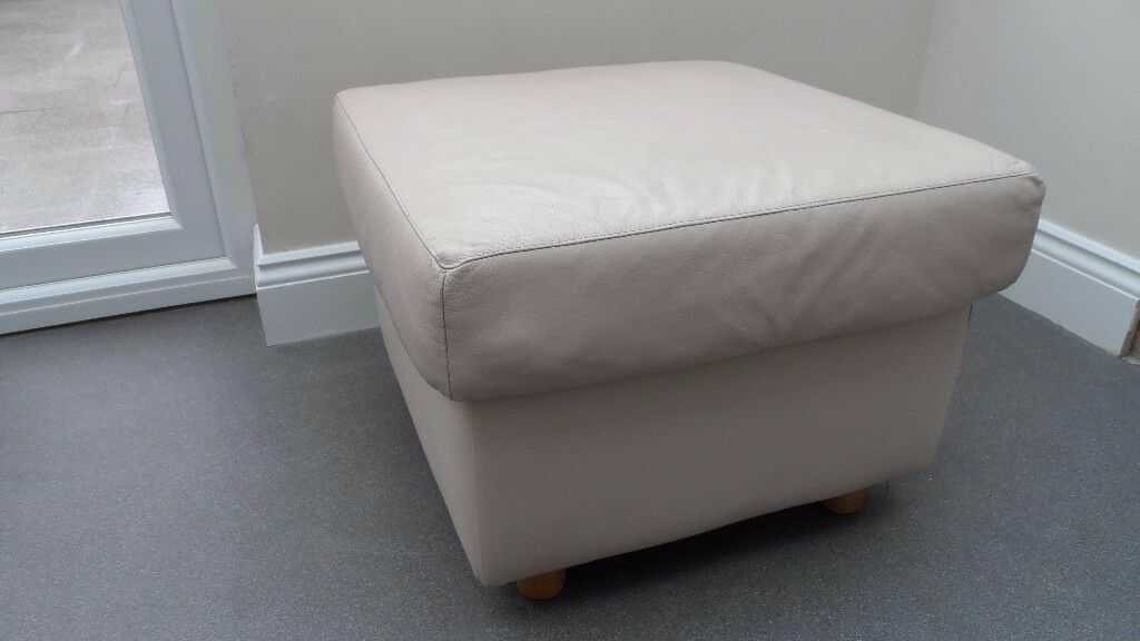 Cream faux leather footstool